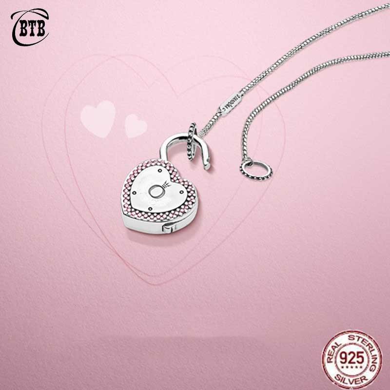 Authentique 925 argent Sterling Original PAN verrouiller votre promesse collier avec Logo Original pour les femmes charme bijoux à bricoler soi-même