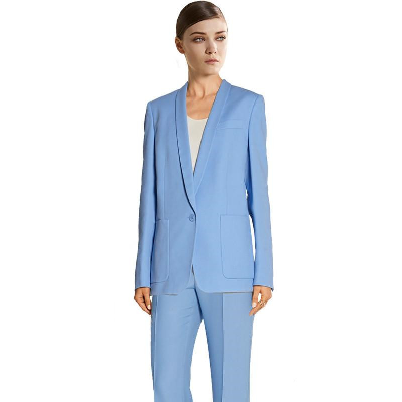 Custom Blue Handmade Bussiness Formal Elegant Women Suit Set Blazers Pants Office Suits Ladies Pants Suits Trouser Suits