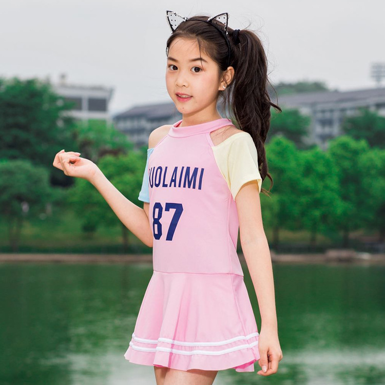 Children Mixed Colors Sports One-piece Swimwear Summer Children Beach Hot Springs Dress-Swimming Suit