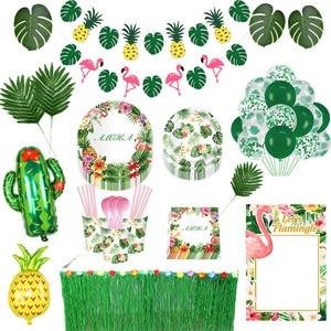 Hawaiian Party Decorations Palm Leaves Bunting Banner Luau Flamingo Summer Tropical Party Decoration Jungle Safari Party Ballons(China)