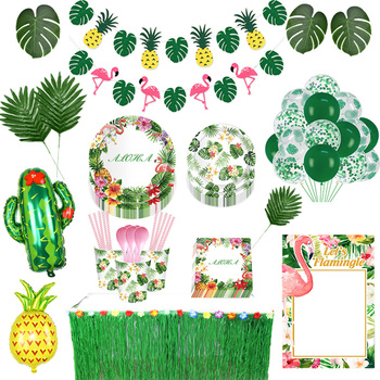 Hawaiian Party Decorations Palm Leaves Bunting Banner Luau Flamingo Summer Tropical Party Decoration Jungle Safari Party Ballons summer tropical luau party banner bunting garlands hawaiian beach theme birthday party diy decoration flamingo party palm leaves