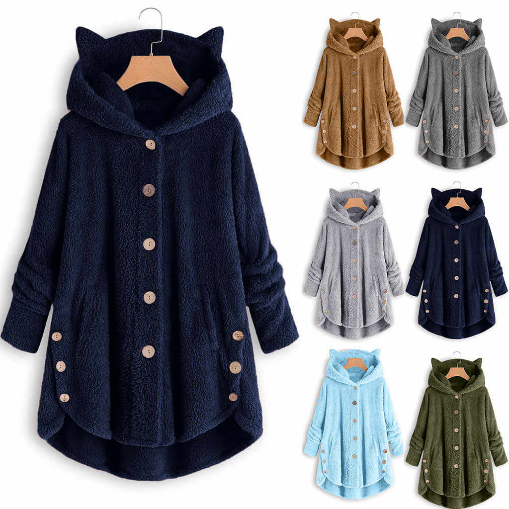 المرأة الشتاء أفخم معطف الصوف القط الأذن Kawaii الدافئة هوديي الأعلى حجم كبير زر سيدة جيب مقنعين طويل البلوز chaquias # EQ