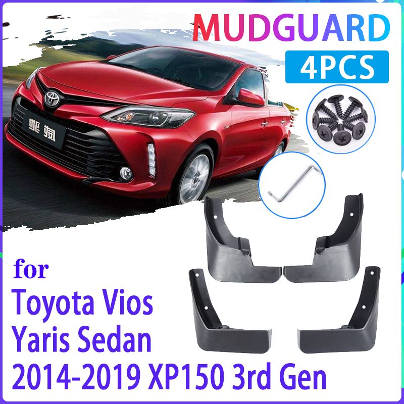 Palas carro para Toyota Vios Yaris Sedan 2014 ~ 2019 XP150 2015 2016 Paralama Proteção Contra Respingos Fender Mudflaps Auto Acessórios