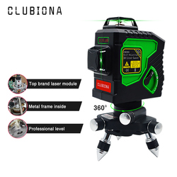 Clubiona 3D 12GH 12 Lines Laser Level with Self-Leveling Super Powerful GREEN Laser Beam Lines and MSDS certificated battery