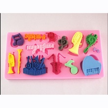 1Pcs Musical Instrument Silicone Mold Fondant Chocolate Cake Decorating Tool