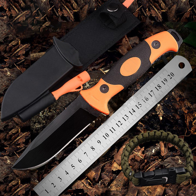 Tools : 7CR17MOV Outdoor collection knife Wilderness survival self-defense straight folding fishing knife with Sparkler cover Whetstone