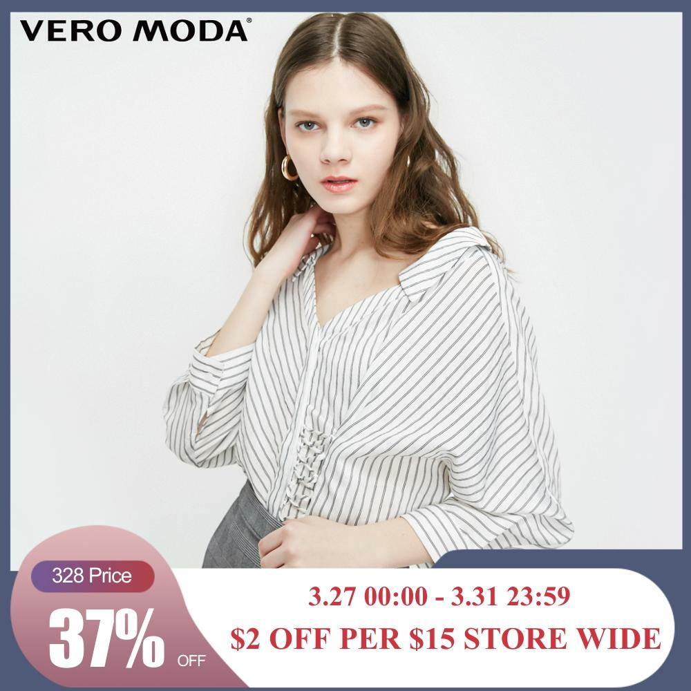 Vero Moda Women's Striped V-neckline Lace-up Batwing Sleeves Shirt | 319231520