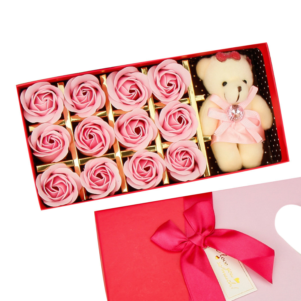 Rose Soap Flower Box 12PCS Romantic Rose Soap Flower Animal Toys Bear Doll Decoration Best Gift Festival Box #40