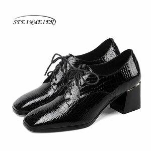 Image 3 - Женские летние туфли на высоком каблуке; модные туфли лодочки из натуральной кожи; весенние туфли на толстом каблуке; женские туфли на каблуке с квадратным носком и шнуровкой; 2020