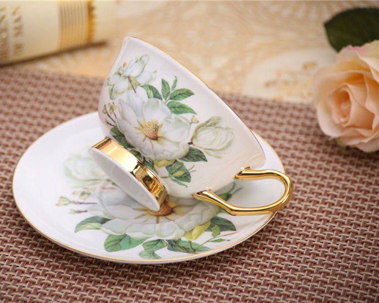 Classic Bone China Coffee Tea Cups Saucers Fine Porcelain Teaware Floral Pattern Ceramic Drinkware Fancy Gift (2)