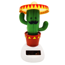 New Arrival Hot Sale Kawaii Creative Cactus Solar Powered Swinging Doll Car Interior Ornaments Decor Moving