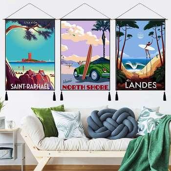 Surfing en verano vacaciones Cote vasca línea colgante de tela de algodón pinturas carteles decoración del hogar tapiz colgante de pared regalo