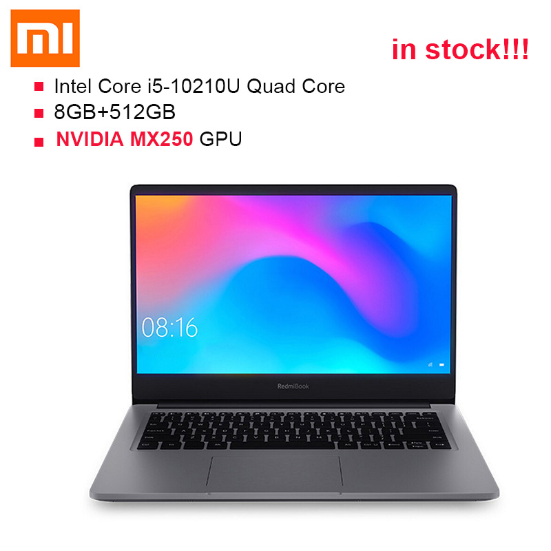 2019 Origianl Xiaomi RedmiBook 14'' 1080P Laptop Windows 10 Intel Core I5-10210U 4.2GHz MX250 8GB DDR4 RAM 512GB SSD Notebook PC