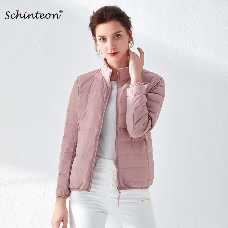 2020 Schinteon Ultra Thin Down Jacket  90% White Duck Down Coat Casual Slim Outwear With Stand Collar High Quality