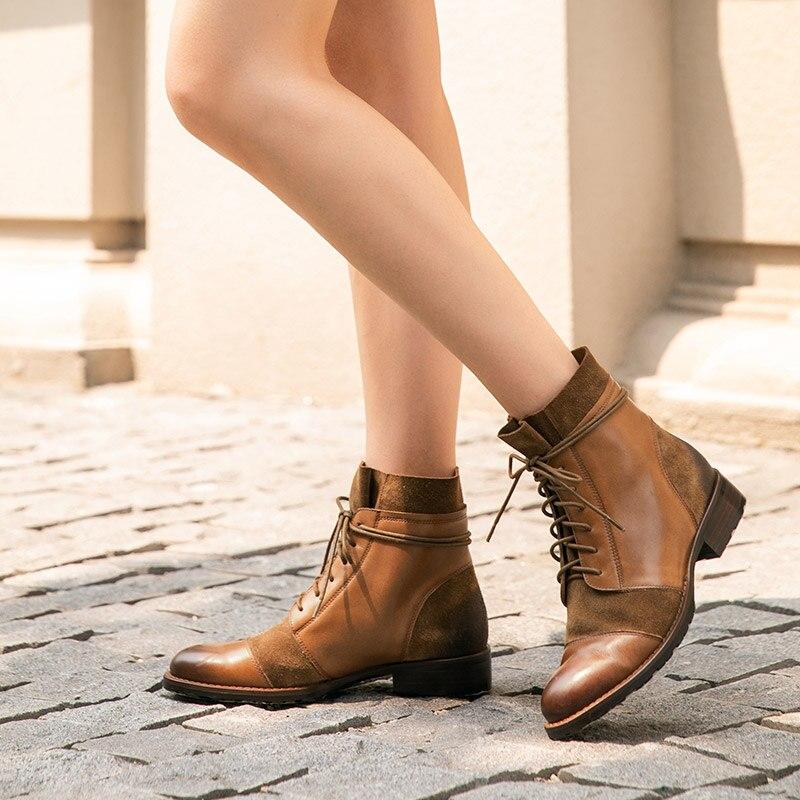 Botas de tobillo BeauToday para mujer cuero genuino de vaca diseño de empalme Otoño Invierno vaca gamuza señora moda botas hecho a mano 03636 - 3