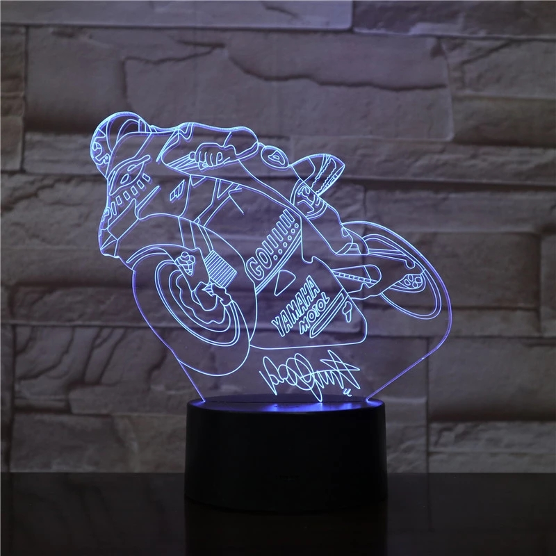 Crazy Motorcycle Riding 7 Color Lamp 3d Visual Led Night Lights For Kids Touch Usb Table Lampara Lampe Baby Sleeping Nightlight