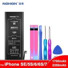 Bateria nohon para iphone se 5S 5c 6s 7 baterias para iphone6 iphone7 bateria de polímero de lítio substituição do telefone + ferramentas gratuitas