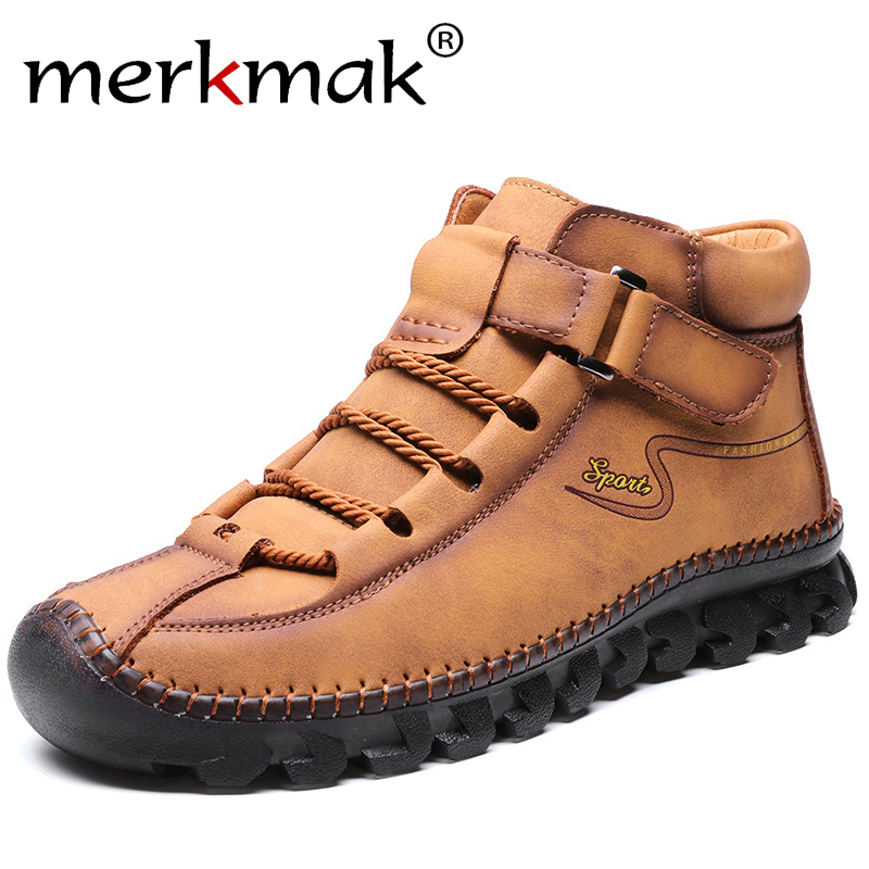 Merkmak Brand New Men Shoes Genuine Leather Casual Shoes Fashion Non-slip Sneakers Big Size 38-48 Wear-resistant Men Loafers