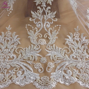 La Belleza ivory New fashion design heavy handmade beading pearls wedding dress lace fabric 1 yard Purple ivory blac fabric(China)