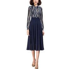 2021 Spring New Arrival Fashion Grace Lady's Long Sleeve Blue Chiffon Patchwork Dress for Woman