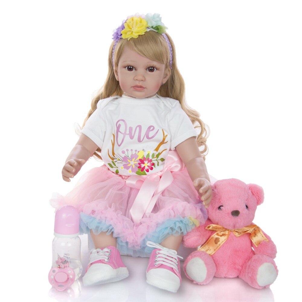 Grand 60 cm bebes Reborn bambin fille poupées réaliste princesse blonde perruque silicone vinyle Reborn bébé poupée lol pour enfants cadeau jouets - 2