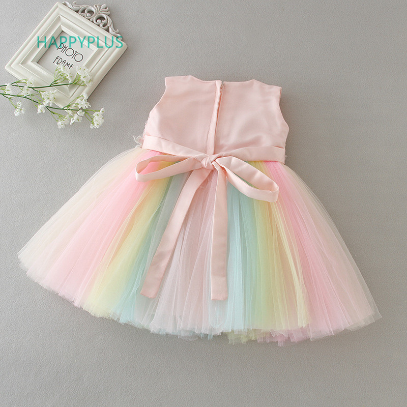 HAPPYPLUS Rainbow Baby Girl Dresses Party and Wedding 2nd 1st Birthday Dresses for Girls Fancy Frock Dress for a Year Old Baby