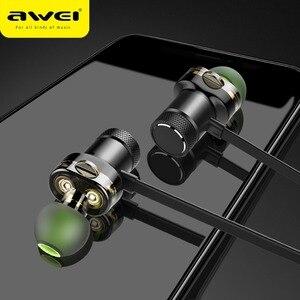 Image 1 - AWEI Bluetooth наушники, беспроводные наушники, стерео, спортивные, в ухо, проводные наушники, гарнитура с микрофоном для iPhone Xiaomi, наушники