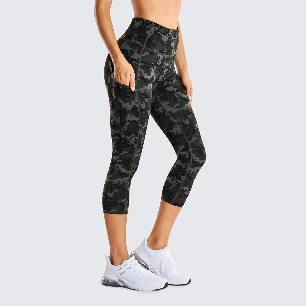 Women's Naked Feeling High Waist Gym Workout Capris Leggings with Pockets 19 Inches