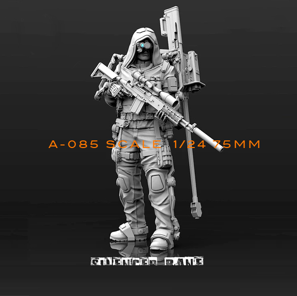 1/24(75mm) Resin Kits Biochemical Sniper Resin Soldier Model Self-assembled A85