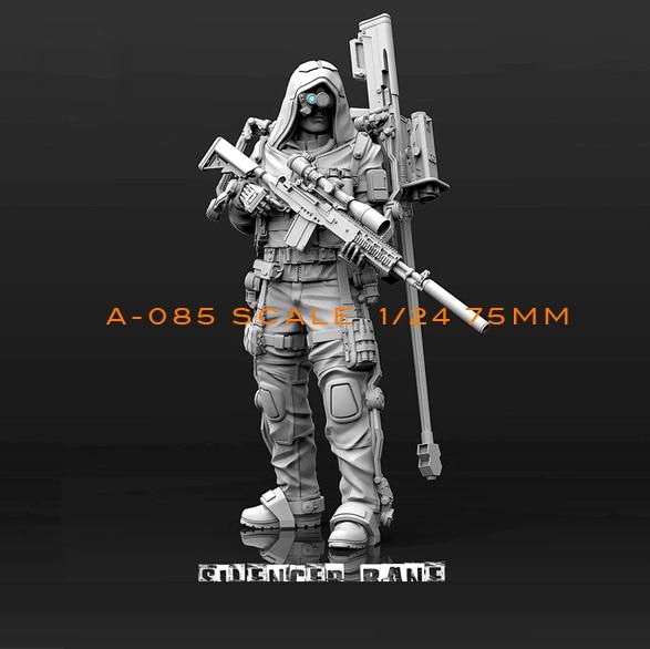 1/24(75mm) Resin Kits Biochemical Sniper Resin Soldier Model Self-assembled A85