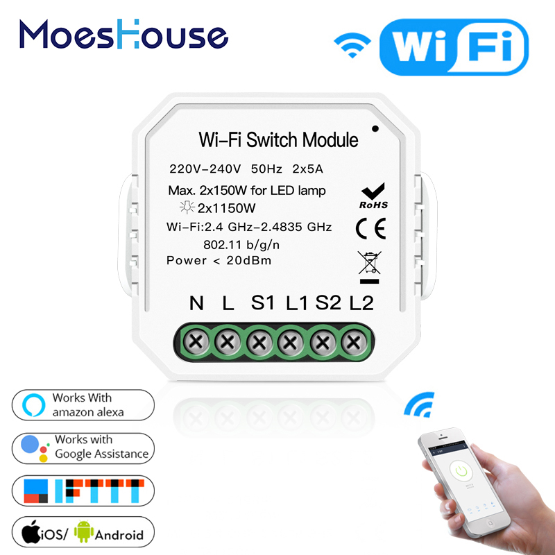 2 Gang Wifi Smart Switch DIY Breaker Module Voice Control Tuya APP Remote Control Time Switch Work With Alexa Echo Google Home