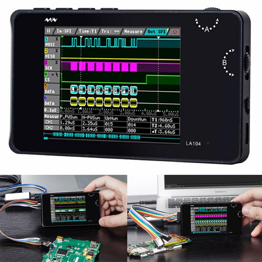 Analyseur de logique numérique LA104 USB Mini 4 canaux 100MHz taux d'échantillonnage maximum SPI I2C UART Programmable 2.8