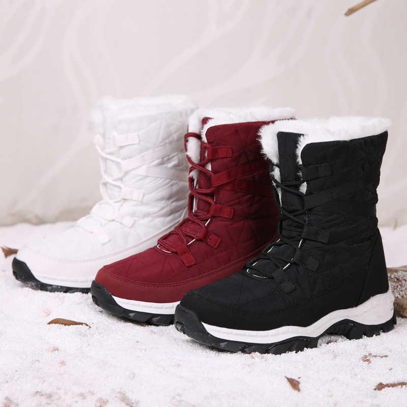 STQ ผู้หญิงฤดูหนาวหิมะรองเท้าผู้หญิงกันน้ำสีดำรองเท้าผู้หญิงกลางลูกวัวรองเท้าบูทรองเท้าผู้หญิง WARM Plush รองเท้า TF19122