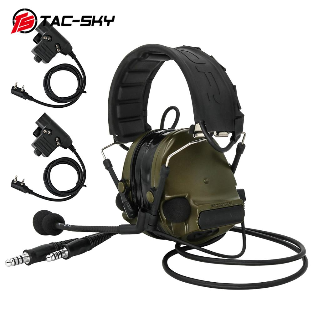 TAC-SKY COMTAC III Dual Communication Silicone Earmuffs New Foldable Headband Tactical Headset With New K Plug Tactical Ptt U94