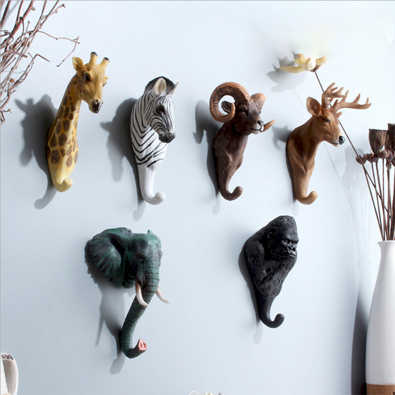 Coat <font><b>Hanger</b></font> Hanging Hooks Animal Decor Animal Clothing Display Racks Hook for Hanging Garden Zoo <font><b>Deer</b></font> <font><b>Hangers</b></font> Head image