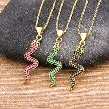 Nowy projekt czerwony/czarny/zielone kolory łańcuch naszyjnik z wężem hurtownie AAA + cyrkonia wisiorek z motywem zwierzęcym najlepsze Party prezenty na nowy rok