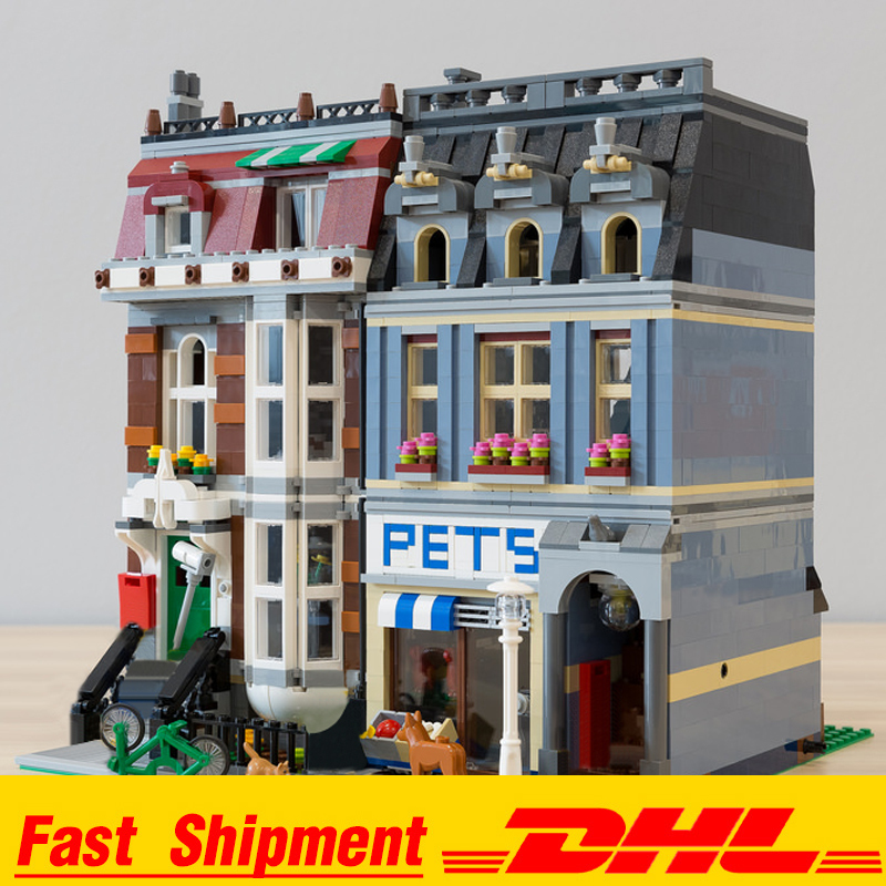 IN Stock 15009 Pet Shop Supermarket Model City Street Building Blocks Toys for Children Compatible 84009 10218