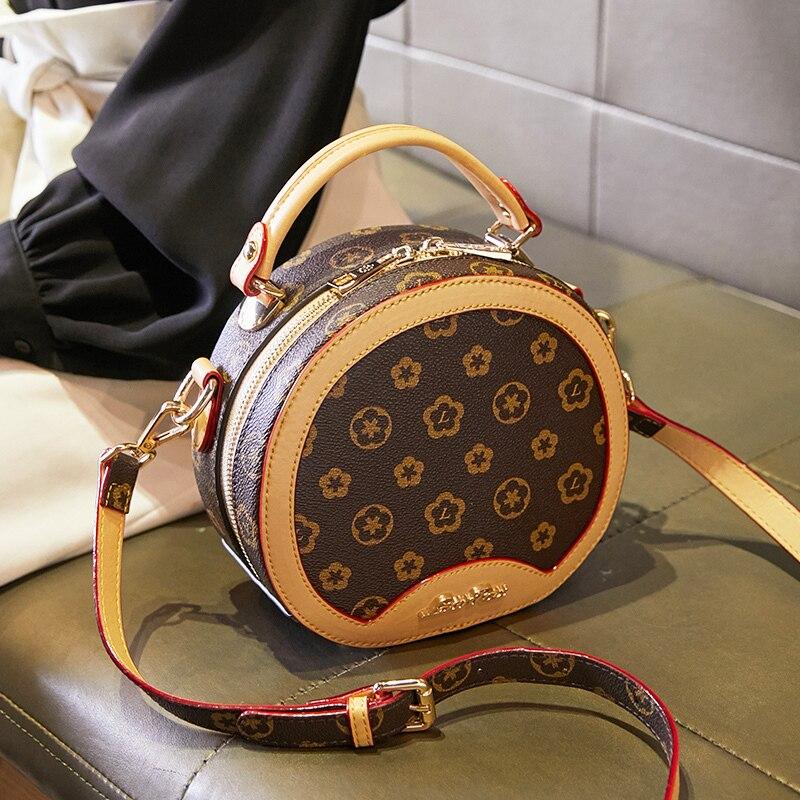 Offre spéciale haute qualité femmes sac femme sacs à main en cuir épaule bandoulière fourre-tout sac à main fleur ronde mignon petits sacs de mode