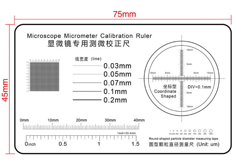 High Precision Film Point Gauge Soft Ruler Microscope Micrometer Calibration Slide Line Width Particle Diameter Measurement