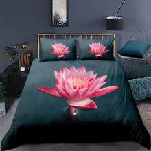 Pink Lotcus Bedding Set Queen Size Fresh Beautiful Duvet Cover Nature King Twin Full Single Double Unique Design Bed Set цена 2017