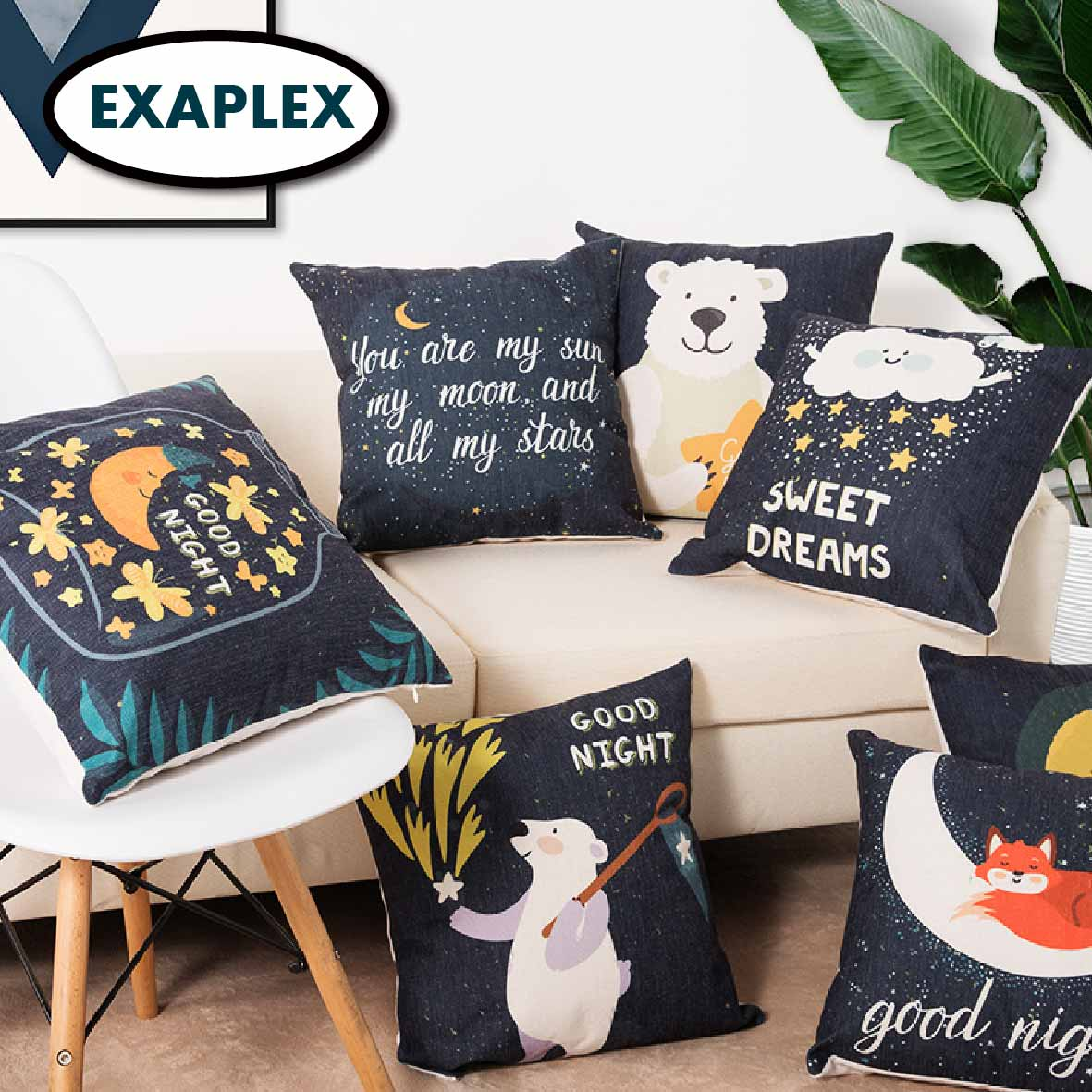 Two Side Printed Cushion Cotton Linen Blend Cartoon Stripes Tropical Plants European Style Pastoral