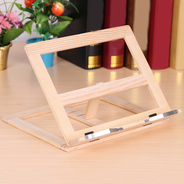 BEAU-Multifunctional Foldable Wood Bookends Stand Cookbook Holder Reading Rack Wooden Reading Book Support Stand Holders