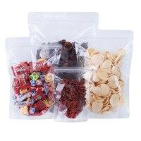 100Pcs Zip-Lock-Stand Up Klar Kunststoff Tasche Selbst Grip Zipper Dichtung Reißen Kerbe Doypack Wiederverschließbare Reusable Lebensmittel Snack lagerung Pack