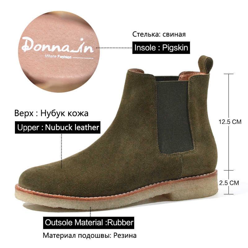 Donna-CHELSEA ข้อเท้ารองเท้าผู้หญิงหนังวัวแท้หนังนิ่มรองเท้าส้นสูงรอบ Toe คลาสสิกยางรองเท้าผู้หญิง 2019 ฤดูใบไม้ร่วงรองเท้า