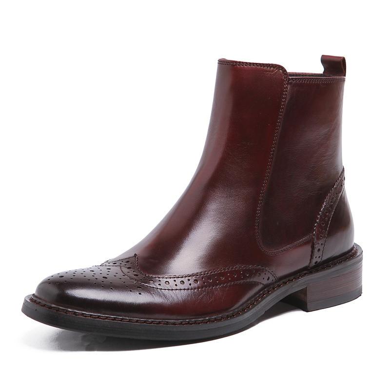 Vintage Genuine Leather Men Ankle Boots British Luxury Round Toe Zip High Top Work Wedding Man Wingtip Brogue Shoes Plus Size