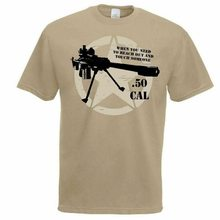 Męskie Khaki 50. Cal Sniper cytat US styl wojskowy T-Shirt pustynny strzelec Top hurtownia O szyi koszulkę