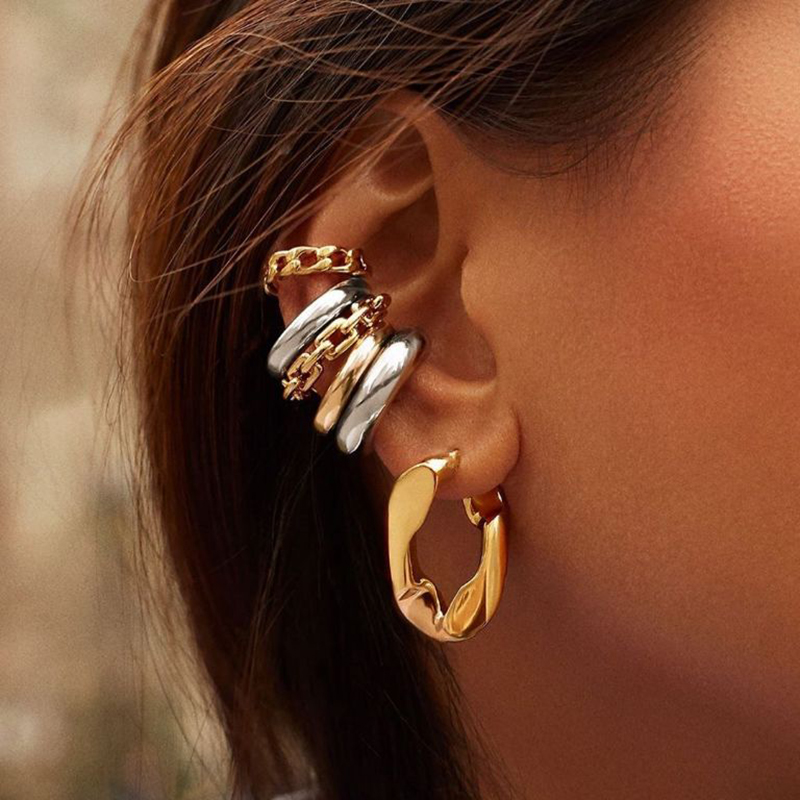 Punk Rock Gold Color Clip Earrings No Piercing Trendy Link Chain Earcuffs Statement Cartilage Earrings for Women Party Jewelry(China)