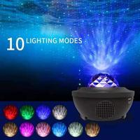 Remote Control Bluetooth Music Light LED Star Projector Lamp USB Cable Sound Control Laser Starry Sky Water Flame Light dropship