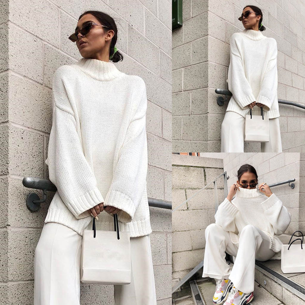 Sweater Women Winter Simple Turtleneck Knit Top Knitted Pullovers Long Sleeve Casual Loose Pullovers 2020 Hot sudadera mujer
