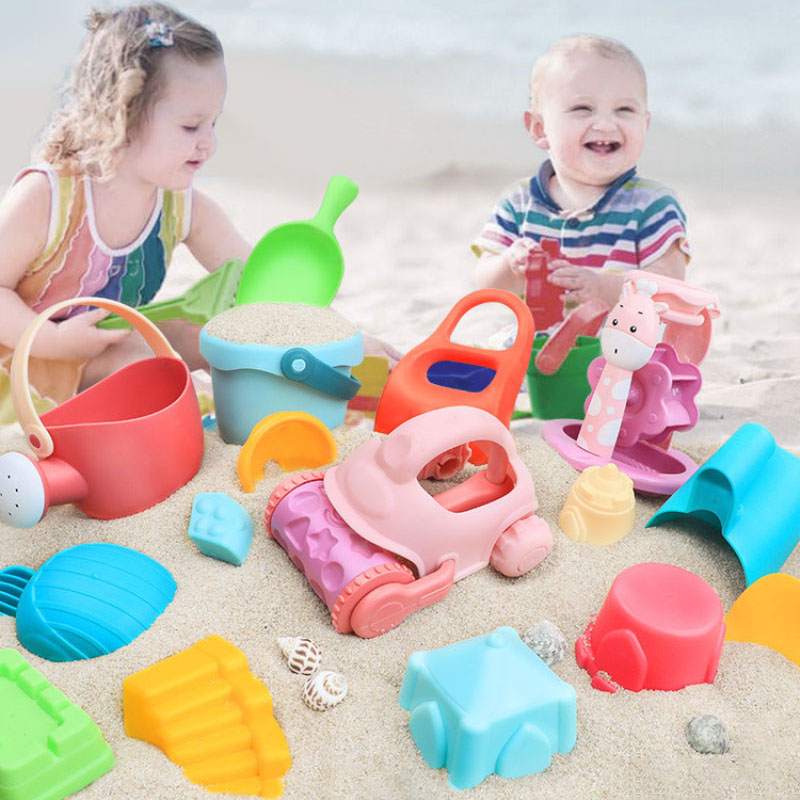 Summer Silicone Soft Baby Beach Toys Children Bucket Tool Rake Hourglass Outdoor Play Sand Tool Set Kids Baby Bath Toy Gifts